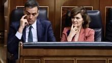 Pedro Sánchez y Carmen Calvo, durante el segundo intento de investidura, Foto: Marta Jara