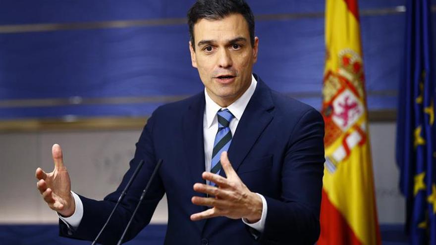 El secretario general del PSOE y candidato a la Presidencia del Gobierno, Pedro Sánchez, durante una rueda de prensa.