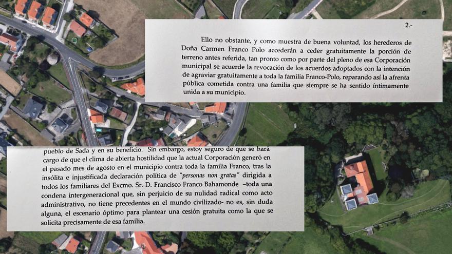 Fragmentos de la carta remitida por Utrera-Molina al alcalde de Sada en nombre de la familia Franco