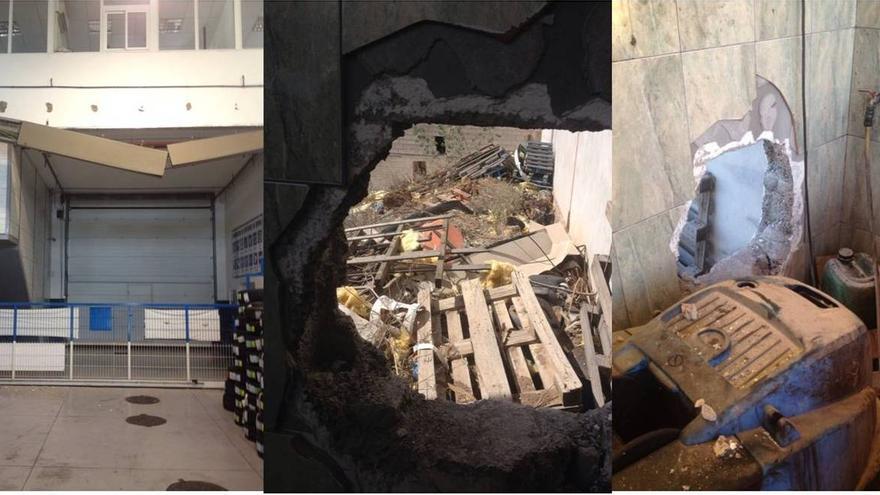Desperfectos causados en el taller de la cooperativa del taxi de Arona.