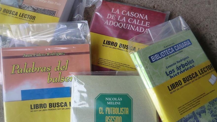 En la imagen, libros protegidos con plástico para su reparto por calles y rincones.