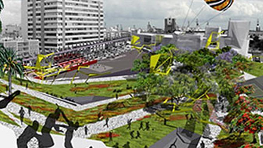 Idea de la arquitecta Elsa Guerra, ganadora del concurso convocado por el Cabildo de Gran Canaria, propietario de los terrenos del Estadio Insular.