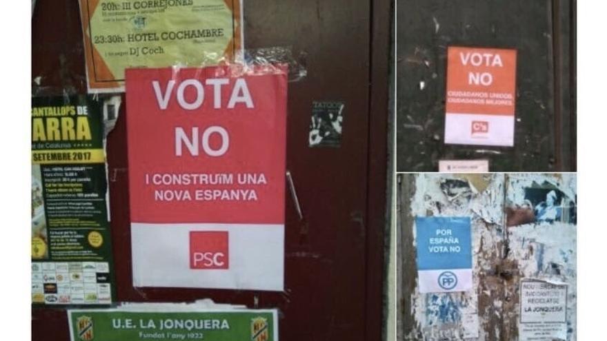 Cuelgan carteles falsos de Cs, PSC y PP a favor del 'no' para incentivar la participación