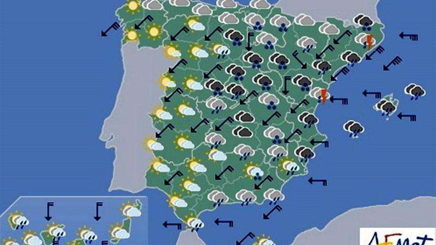 Hoy, precipitaciones en casi toda España, con nieve en interior peninsular