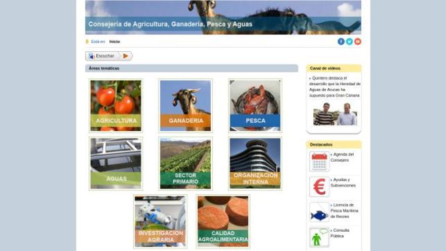 Web de la Consejería de Agricultura, Ganadería, Pesca y Aguas del Gobierno de Canarias