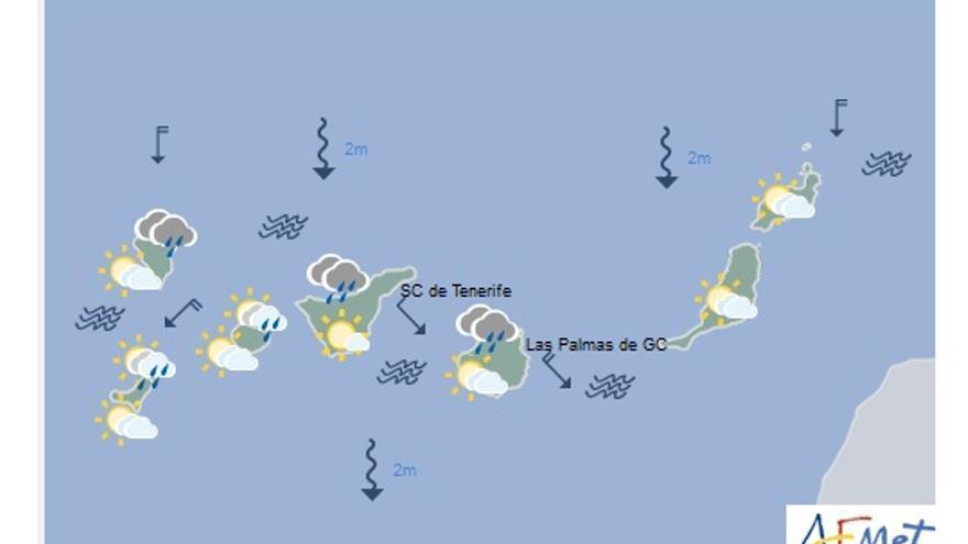 Mapa con la previsión del tiempo para este lunes, 19 de diciembre