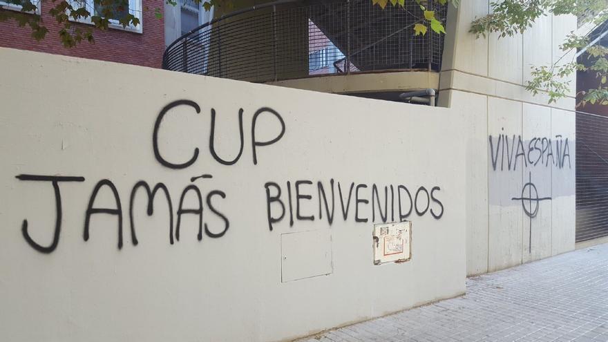 Otra de las pintadas nazis contra las CUP en la UV.