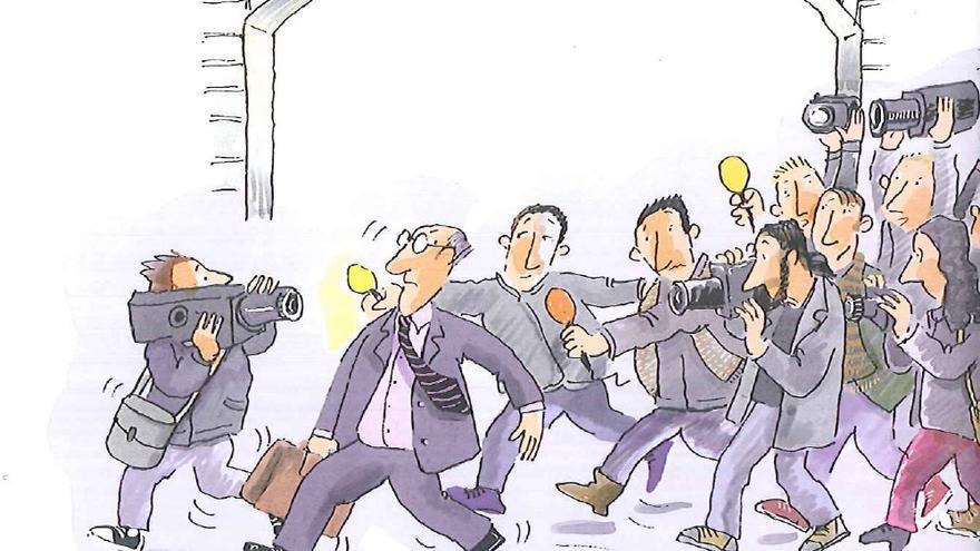 Ilustración en la que un diputado huye del 'canutazo' de los periodistas en el patio del Congreso / Ilustración de Roser Capdevila para 'Conociendo el Congreso de los Diputados