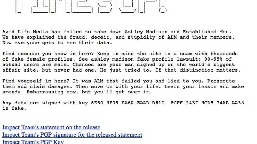 La letra pequeña de Ashley Madison prometía secreto sin proteger los datos