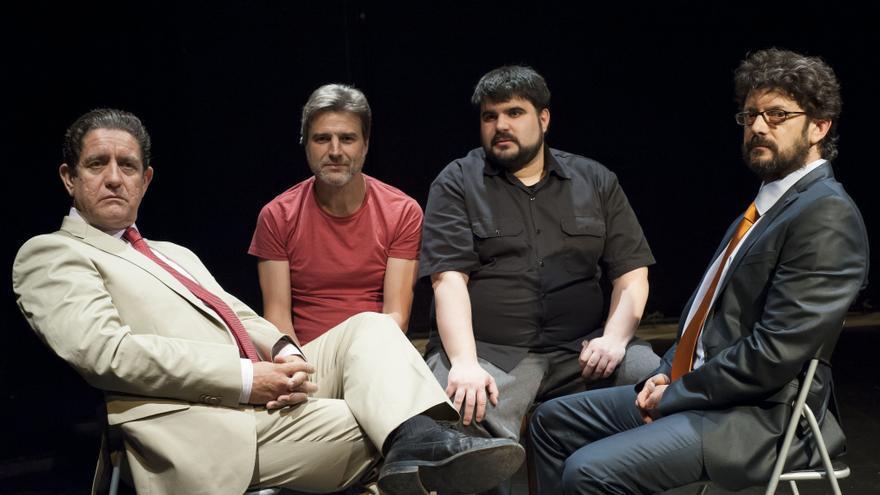 De izquierda a derecha: Pedro Casablanc (Bárcenas), Alberto San Juan, Jordi Casanovas y Manolo Solo (Pablo Ruz)