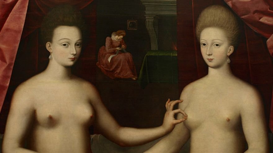 Gabrielle d'Estrées y una de sus hermanas
