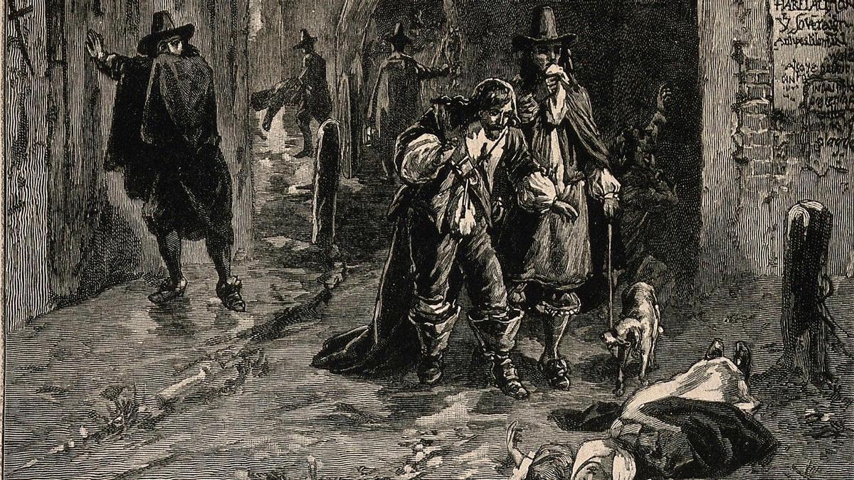 Dos hombres descubren el cadaver de una mujer en la calle durante la gran plaga de Londres