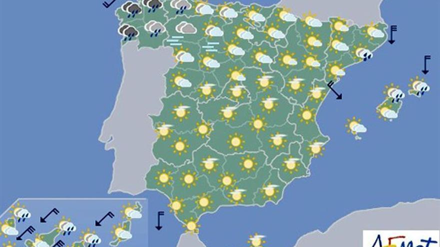 Hoy, lluvias localmente fuertes en el oeste y noroeste de Galicia