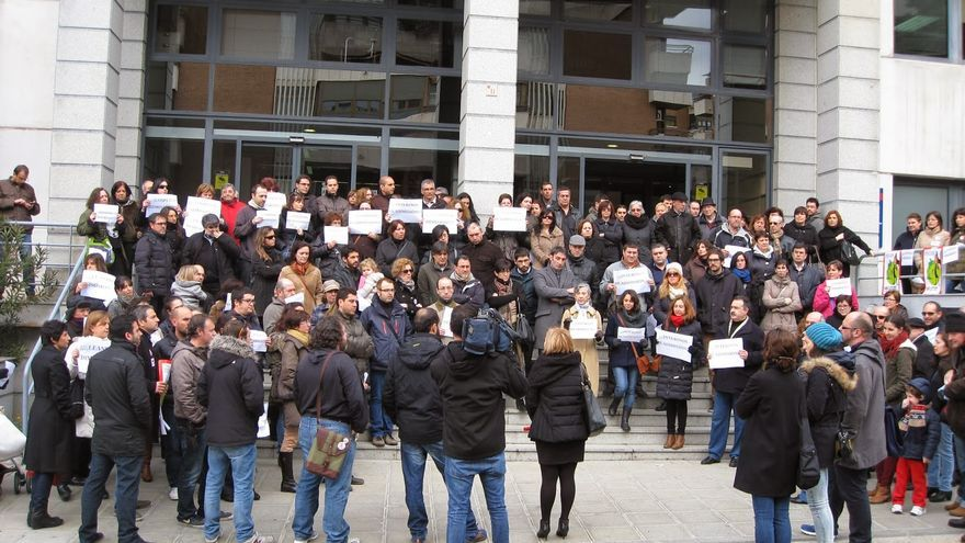 Protesta de los interinos en enero de 2014