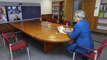 Román Rodríguez en videoconferencia.
