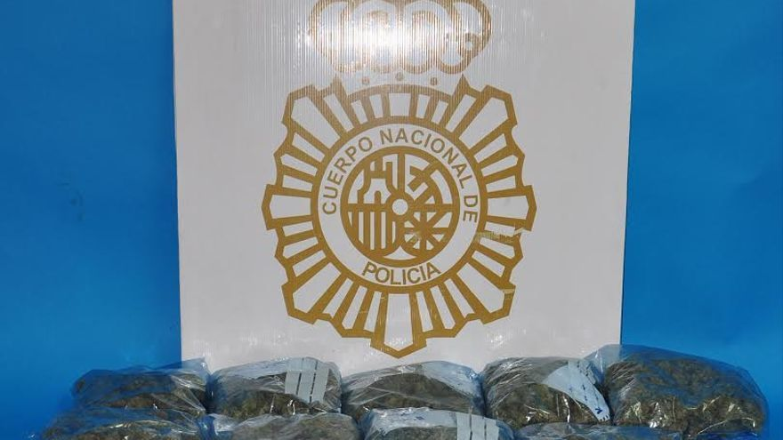Bolsas de marihuana incautadas por la Policía Nacional en Playa del Inglés.