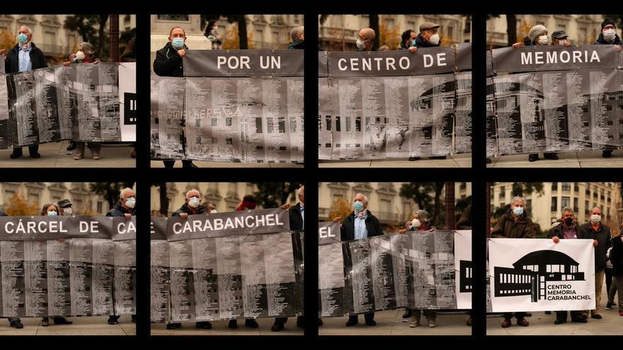 Lonas con los nombres de los presos políticos de la cárcel de Carabanchel