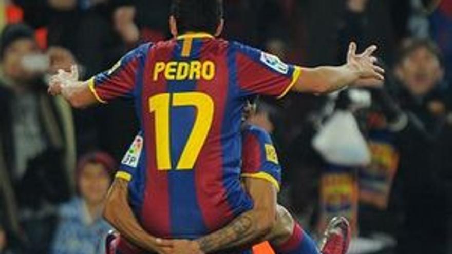 Pedro celebra uno de sus goles.