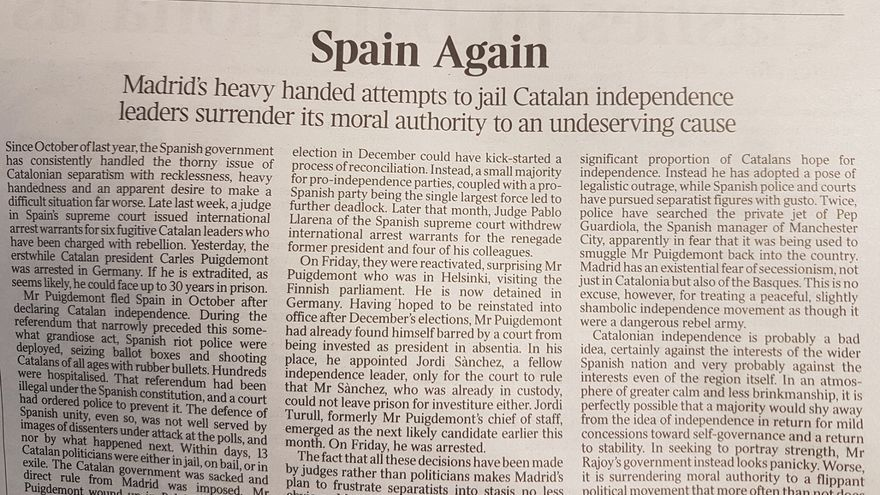 Editorial de The Times sobre Catalunya