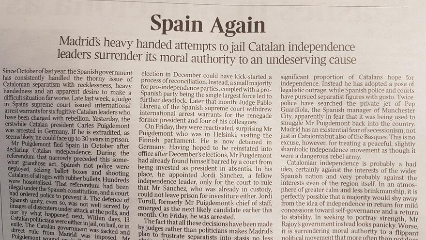 Editorial de The Times sobre Catalunya