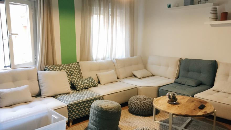 El salón de uno de los pisos compartidos de Urban Campus