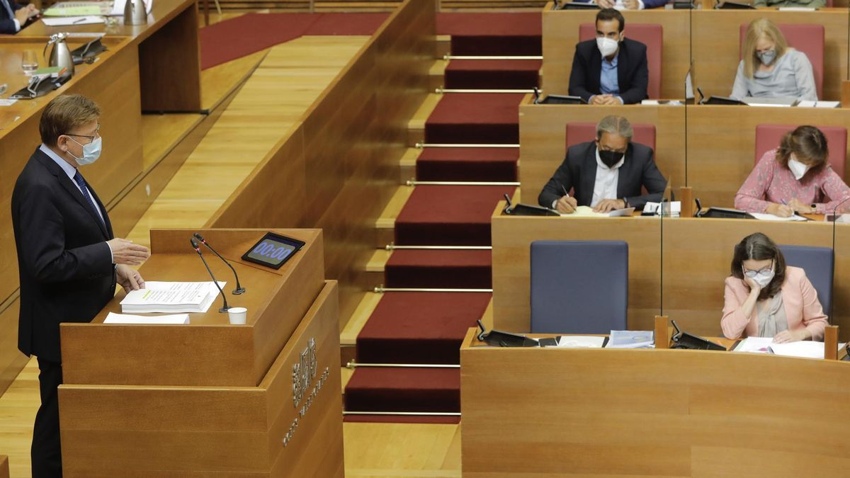 Ximo Puig durant la seua primera intervenció en el debat de política general, el primer de la segona legislatura.