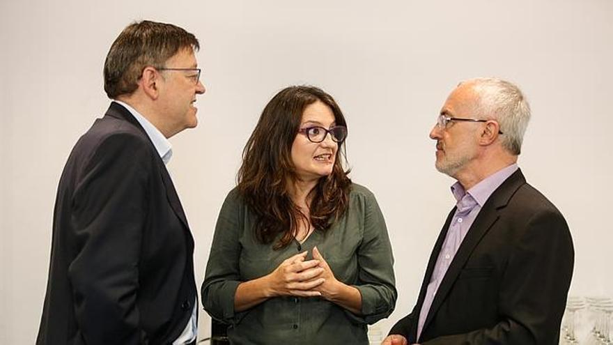 Ximo Puig, Mónica Oltra y Antonio Montiel.