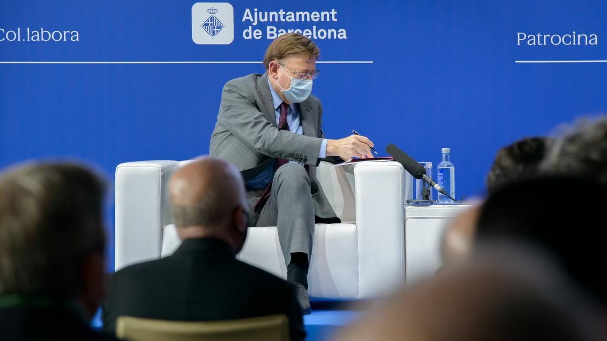 El president de la Generalitat, Ximo Puig, durante su intervención en el Cercle d'Economia.