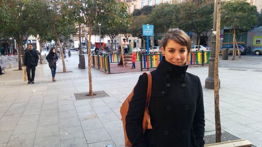 Sara Porras, en la Plaza de Lavapiés. / A. R.