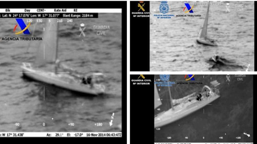 Imágenes del velero interceptado publicadas por el Ministerio del Interior.