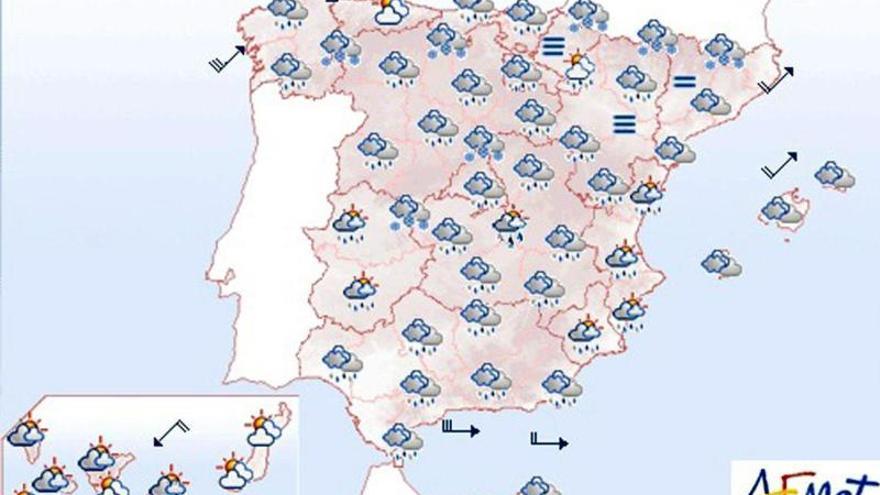 Lunes lluvioso en el oeste de Galicia y nubes en buena parte de la península