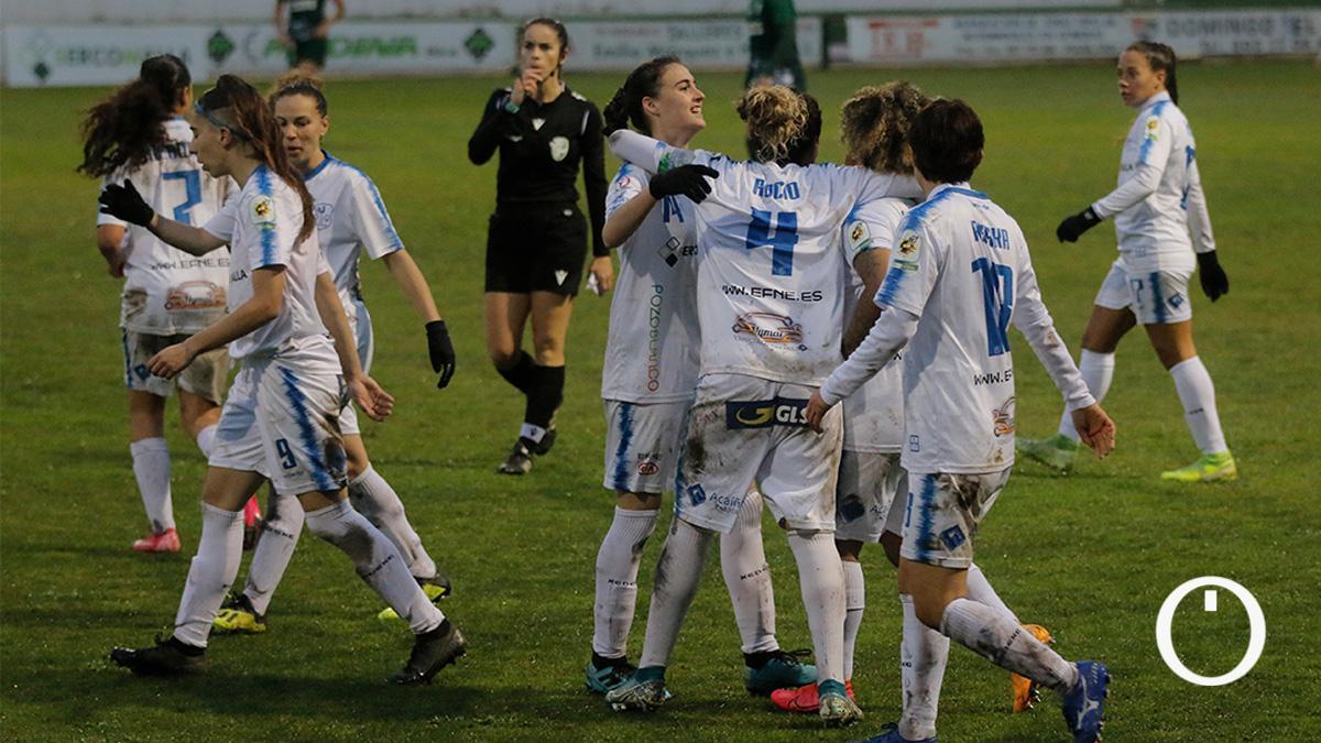 Las jugadoras del Pozoalbense celebran un gol.