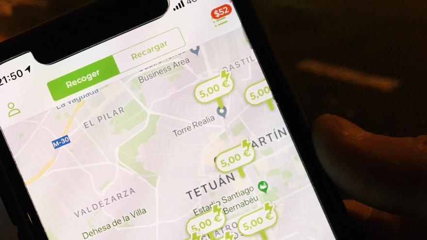 Captura de la pantalla de la App utilizada para localizar los patinetes.