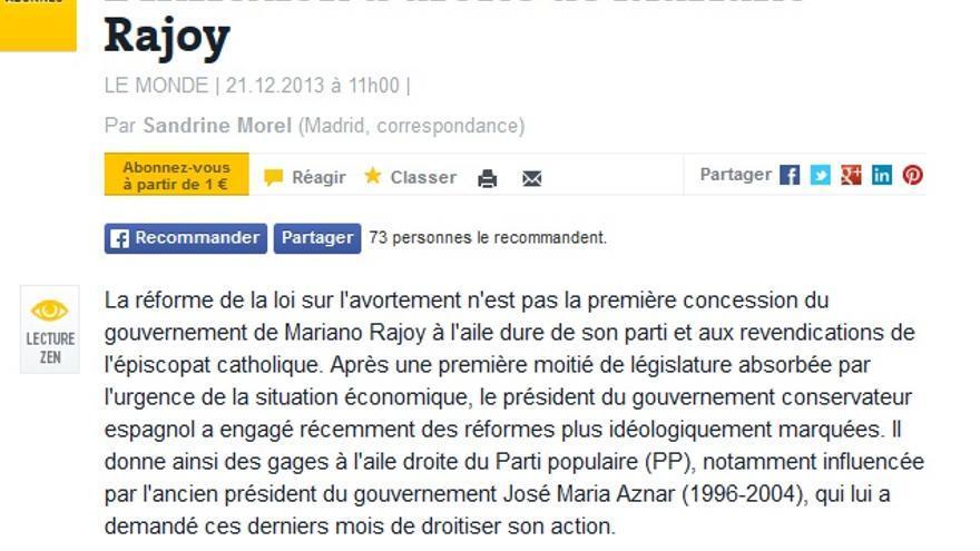 """""""L'inflexion à droite"""" del Gobierno de Rajoy con la reforma de la ley del aborto (Le Monde)"""