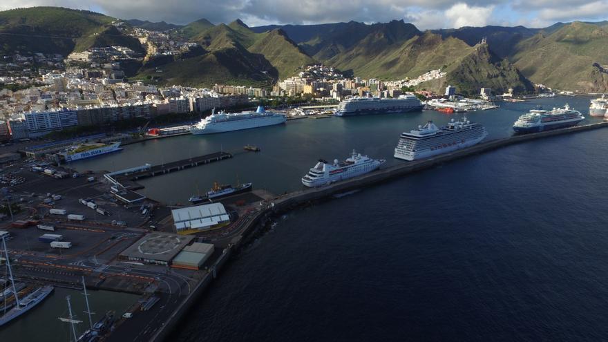 Vista aérea de las embarcaciones de turismo atracadas este viernes en el puerto capitalino de Tenerife