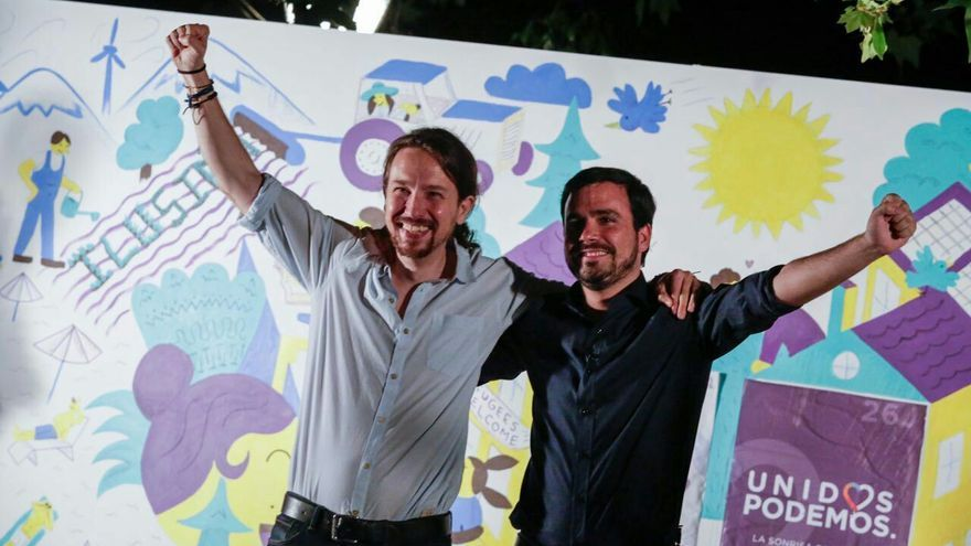 Pablo Iglesias y Alberto Garzón, en el arranque de la campaña del 26 de juio de 2016.