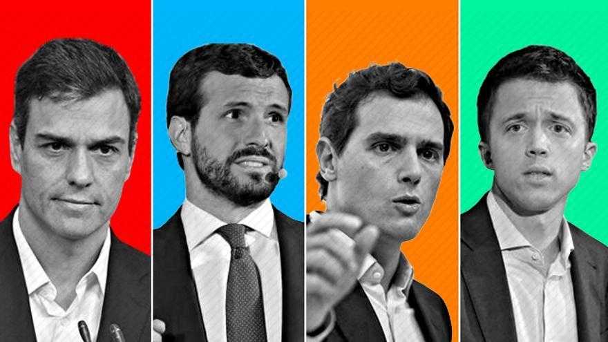Los líderes de PSOE, PP, Ciudadanos y Más País.