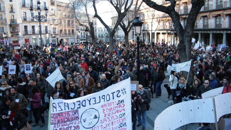 Manfiestación en contra de la Ley de Caza en Toledo