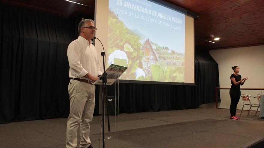 Francisco Domínguez, gerente de Ader-La Palma, en el acto de celebración del 25 aniversario de la entidad.