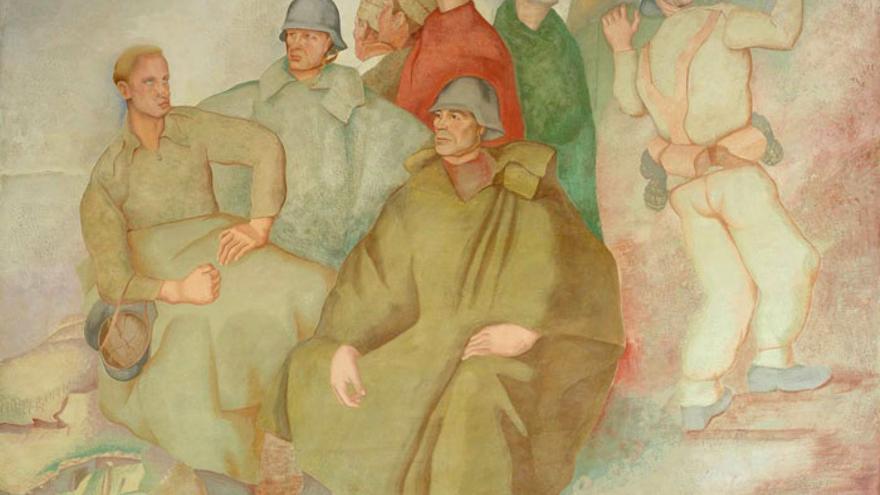 'Ama la paz, odia la guerra' es el título que Quintanilla eligió para los cinco frescos encargados por el Gobierno de la República para la Exposición Universal de París de 1939. Los frescos se han convertido con el tiempo en la obra más representativa del pintor.