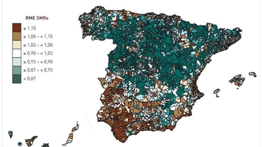 Imagen 1: Razones de mortalidad estandarizadas. Todas las causas. Hombres. Fuente: Atlas de mortalidad en municipios y unidades censales de España (1984-2004).