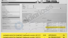 """El documento que demuestra que Montón tenía un """"no presentado"""" en noviembre y alguien lo cambió"""