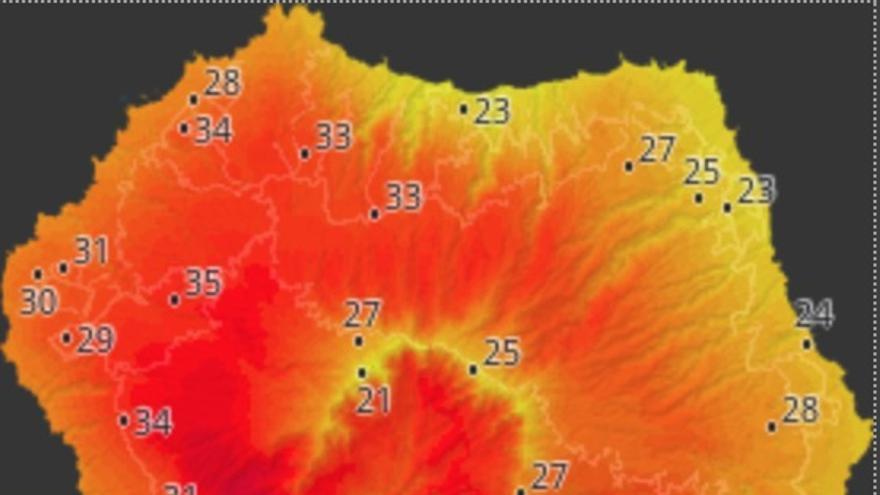 Mapa de HD Meteo La Palma donde se indica la temperatura que, a las 14.20 horas de este lunes, 19 de agosto, se registraba en distintos puntos de La Palma.
