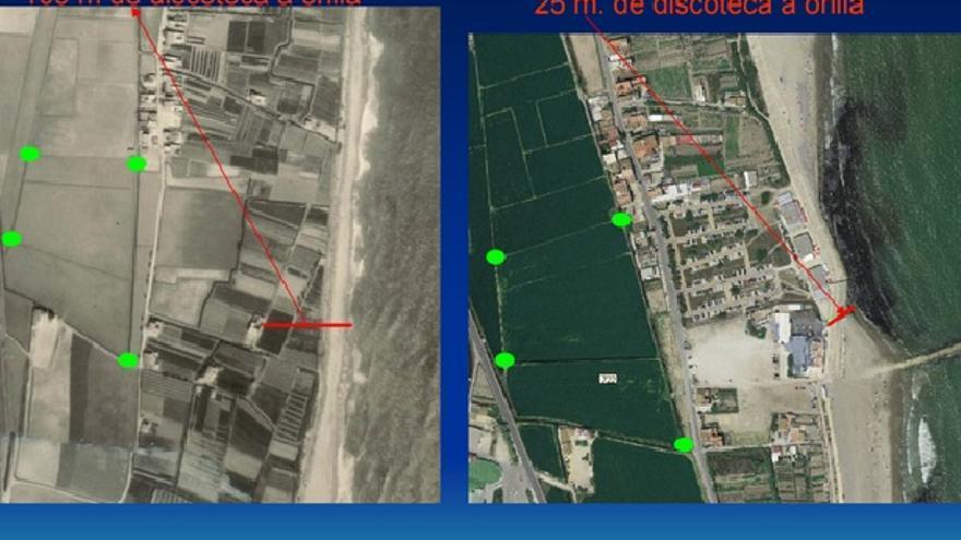 La playa de Pinedo a la altura de la discoteca en 1960 y en 2009