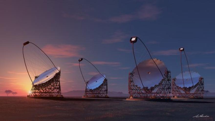 Representación artística de los cuatro telescopios gigantes propuestos para el CTA. Crédito: IFAE, Consorcio CTA.