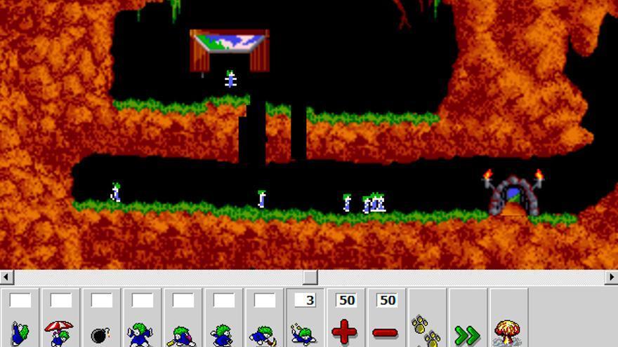 Primera pantalla de 'Lemmings', probablemente el videojuego para ordenador más mítico de los años 90. ¿Te apetece echar una partidita?