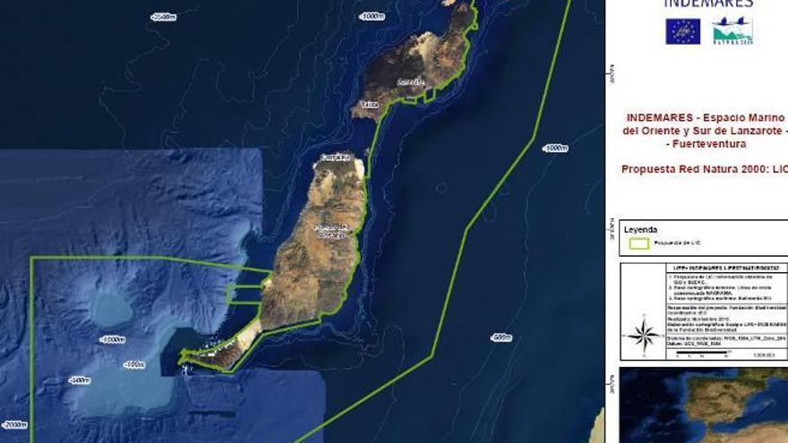 Área propuesta para el LIC de Lanzarote y Fuerteventura