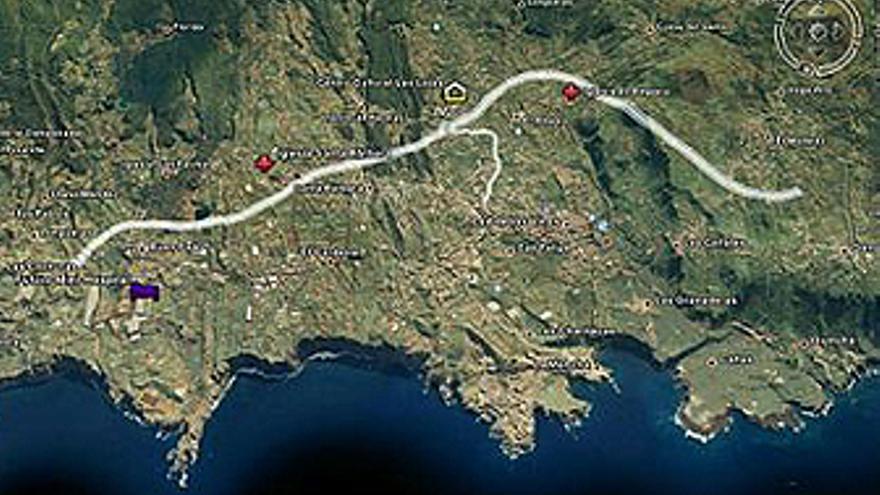 Proyección del anillo de circunvalación sobre el municipio de Icod. (GOOGLE)