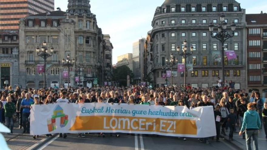 Imagen de una manifestación contra .a Lomce en Bilbao.