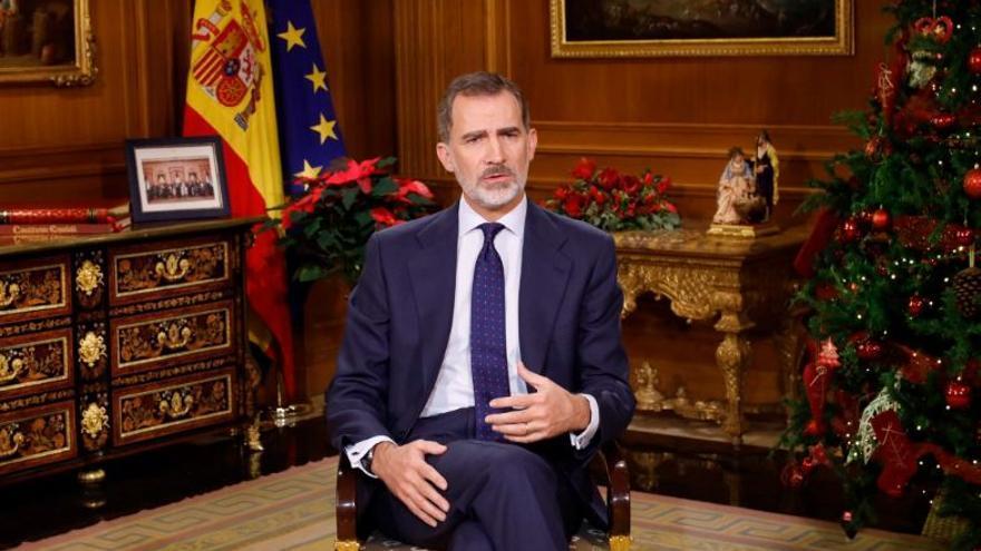 Felipe VI, durante el mensaje de Navidad de 2019.